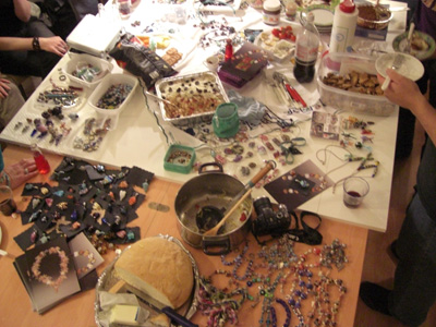 A table full of our favorite things, beads and food.  The potluck and bead exchange for our group