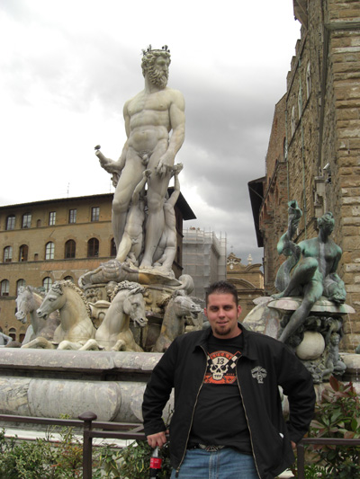 Here's Chris in front of one of the fountains in Florence