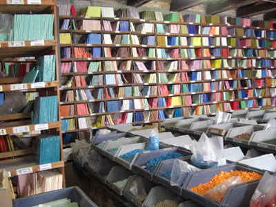 Toward the end of our time in Murano we visited the Smalti factory over in Venice.  This is a shot of the color library.
