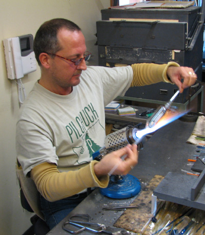This Cesare Tofolo in his studio on the island of Murano.  We were lucky enough to be able to have a demo.  He isn't always this accomodating.